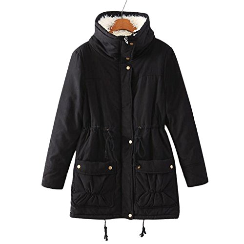 Aro Lora Women's Winter Warm Faux Lamb Wool Coat Parka Cotton Outwear Jacket (XXXL, Black) by Aro Lora