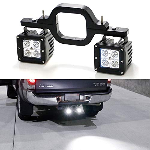 iJDMTOY Tow Hitch LED Pod Light Kit Fit for Many Truck SUV Trailer RV etc, Includes (2) 20W High Power CREE LED Pod Lamps & Tow Hitch Mount Bracket, Use As Reverse, Off-Road or Search Light