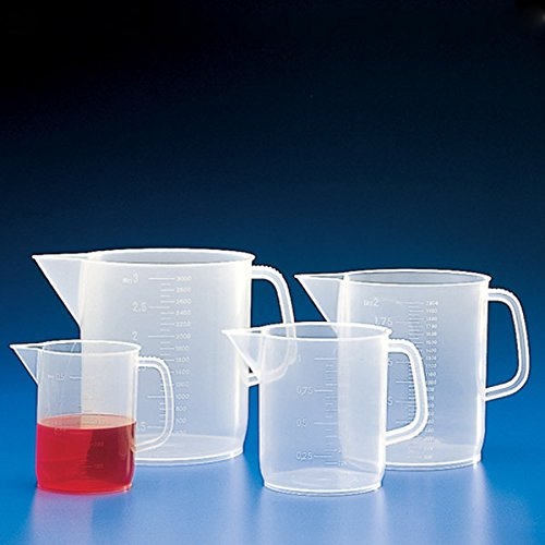 Globe Scientific 601160 Polypropylene Short Form Beaker with Handle, Molded Graduations, 5000mL Capacity (Pack of 12)