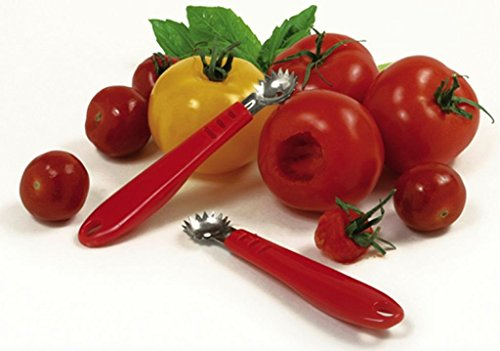 Tomato corer 2 made of durable, heavy duty plastic effortlessly core your tomatoes and strawberries includes a soft, comfortable handle for strong, easy gripping