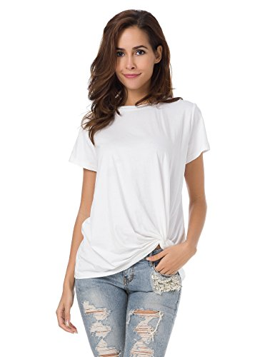 MOQUEEN Womens Short Sleeve Loose Twist Knot Front T Shirts Cotton Casual - Top Twist Flat