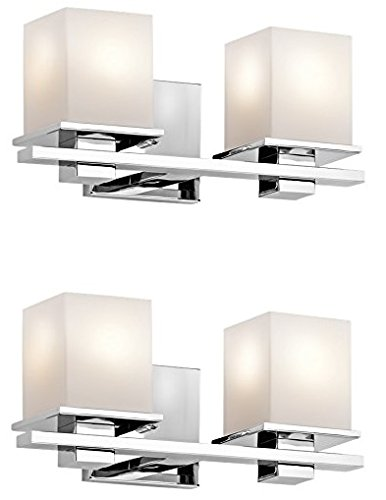 Cased Opal Etched Glass - Kichler 45150CH Tully 2-Light Vanity Fixture and Satin Etched Cased Opal Glass (Chrome Finish-2 Pack)