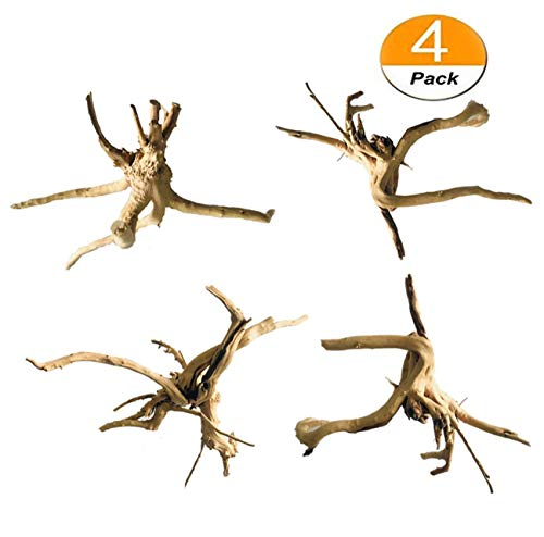 - Driftwood for Aquarium Wood Natural Trunk Reptile Driftwood Tree Aquarium Fish Tank Plant Stump Ornament Decor 4 PCS