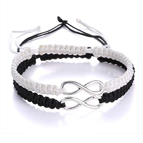 ECOLOG 2Pcs 8 Infinity Braided Bracelets Couple Braided (White/Black)