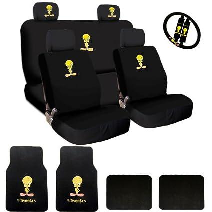 New Tweety Bird Car Seat Covers Steering Wheel Cover Headrest Mats Bundled Gift Set