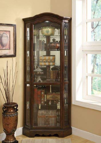 Transitional Curio Cabinet - 5-Shelf Corner Curio Cabinet Medium Brown and Clear