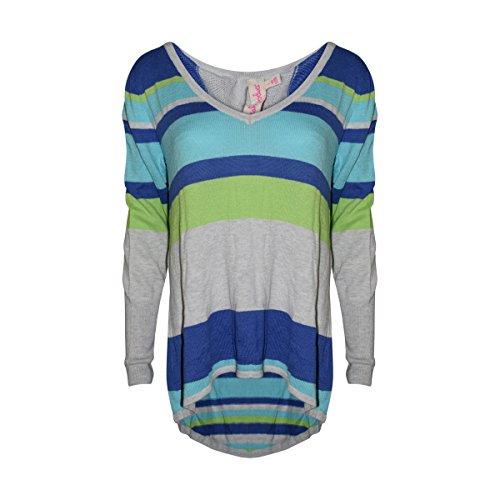 Hem Long Sleeve Cotton - Fresh Produce Womens Subtle Luxury Hem Long Sleeve Cotton Clothing Top (Cool Combo, Large)