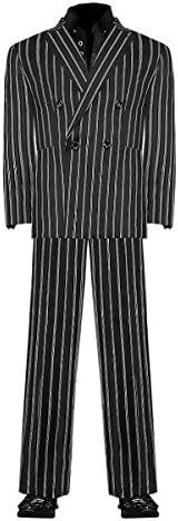 ダブルスーツ 黒×ダブルストライプ ヤクザ チンピラ ホスト 成人式 二次会 オラオラ系 紳士 メンズ ファッション 上下セット 服 派手 DJ-SU091