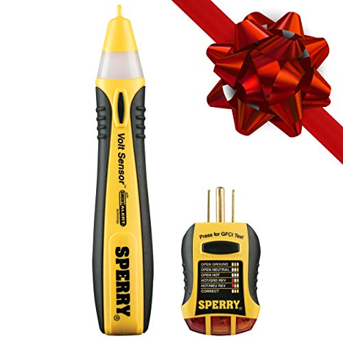 Sperry Instruments STK001 Non-Contact Voltage Tester (VD6504) & GFCI Outlet / Receptacle Tester (GFI6302) Kit, Electrical AC Voltage Detector, Yellow & Black (Livewire Cable Tester)