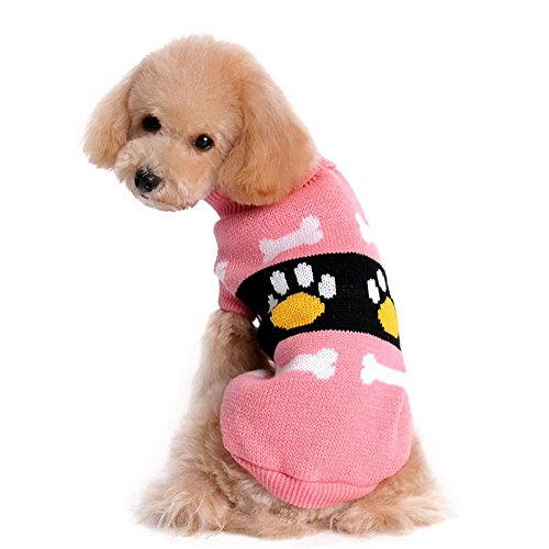 Dorapocket Pet Cute Footprints Bone Knitted Sweater Puppy Dog Cat Jumpsuit Thickening Warm Costumes for Spring Autumn Winter,Pink XXL - Queen Of Bones Dog Costumes