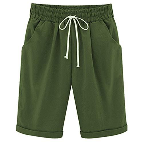 Climbing Cotton Shorts - XinDao Women's Outdoor Drawstring Elastic Waist Casual Comfy Bermuda Plus Size Hiking Shorts Army Green US 3XL/Asia 8XL