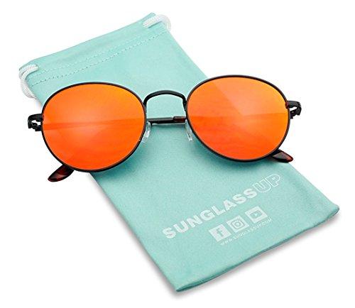 SunglassUP - Large Slim Metal Round Flat Color Mirrored Lens Sun Glasses Vintage (Black, Fire Red -