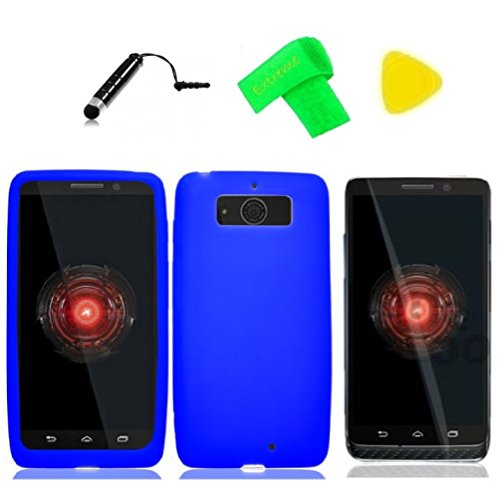 Silicone Gel Skin Cover Phone Case + Screen Protector + Extreme Band + Stylus Pen + Pry Tool For Motorola DROID Mini XT1030 XT-1030 Obake Mini (Silicone Blue)