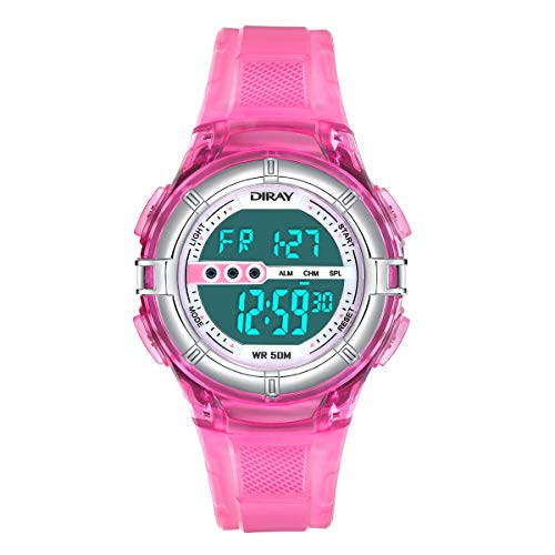 Digital Watches for Kids Boys Watch Girls Watch 50M Waterproof Sports Watches Digital Watch with Alarm/Stopwatch, Date & Week and Calendar Night Light Outdoor Watches (Jelly Pink)