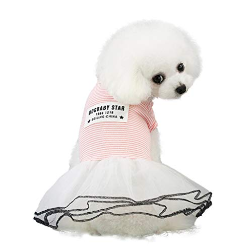 TTbuy Cute Striped Lace Dress Pet Dog Spring and Summer Stripe Skirt Dog Costumes Pet Dog Clothes Puppy Small Dog Cat DressApparelClothes Fly Sleeve Dress Stripe Lace Vest (M, Pink)