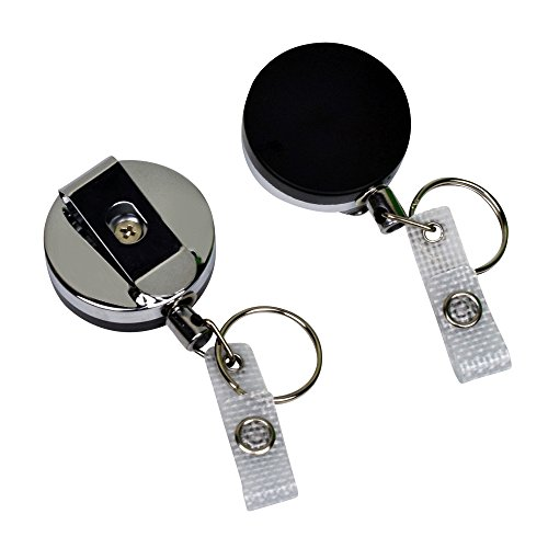 2-Pack Heavy Duty Retractable Badge Holder with Metal Casing, Steel Cord Reel and Reinforced ID Strap by Limeloot (Badge Retractable Metal)