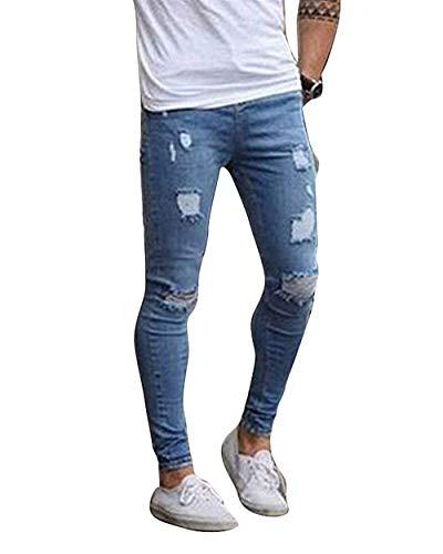 Look Pantalones Ropa De Fit Hombres Jeggings Hellblau Los De Mezclilla De Vaqueros Pantalones Ocasionales Pantalones Slim Pantalones Pantalones Hombres Destroyed Los Tamaños Pantalones Cómodos Los De rqCnrSwxO