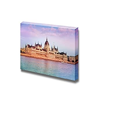View of Parliament Near The River in Budapest Hungary Famous Landmark - Canvas Art Wall Art - 12