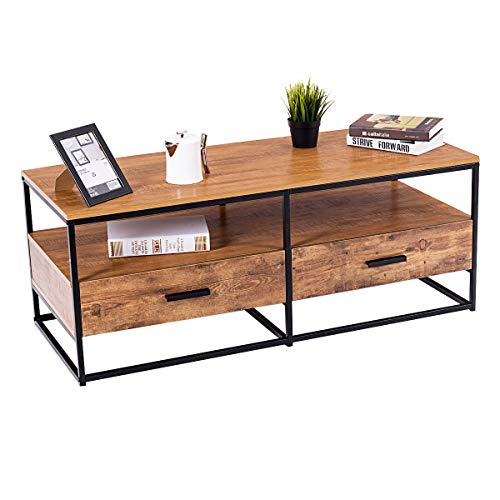 Giantex Coffee Table W/Storage 2 Drawers Two Tiers Metal Solid Frame, Natural Wood Decorative Line Pattern, Accent Cocktail Sofa Side Table for Living Room Bedroom