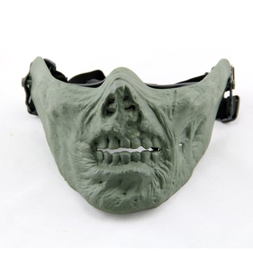 M05 Army Half-face Corpse Walking Dead Zombie Skull Airsoft Paintball Tactical Protect Mask (Green) -