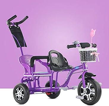 JHGK Triciclo para Niños, Carro De Empuje para Exteriores para Niños, Bicicleta De Cochecito Doble De Acero con Alto Contenido De Carbono, Triciclo En Tándem Tricycle