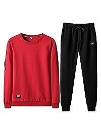 pipigo Mens Running Pants Sweatshirt 2 Pieces Sport Tracksuit Set