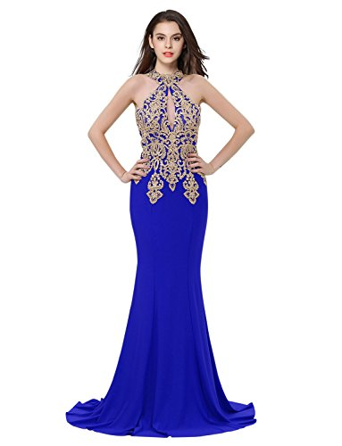 Erosebridal Womens Prom Dresses Long Lace High Neck Evening Gown Sexy Mermaid US 12 Royal Blue