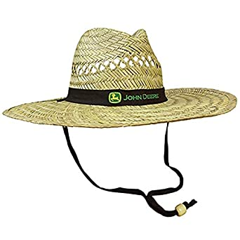 ed465e0c542 Amazon.com  John Deere Brand Black Straw Hat with Neck Strap  Clothing