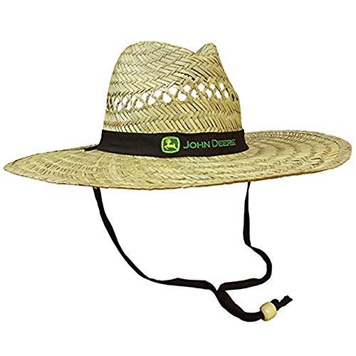 38ba94c8f John Deere Brand Black Straw Hat with Neck Strap
