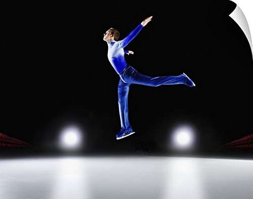 Canvas On Demand Wall Peel Wall Art Print entitled Man performing, Ice skating jump
