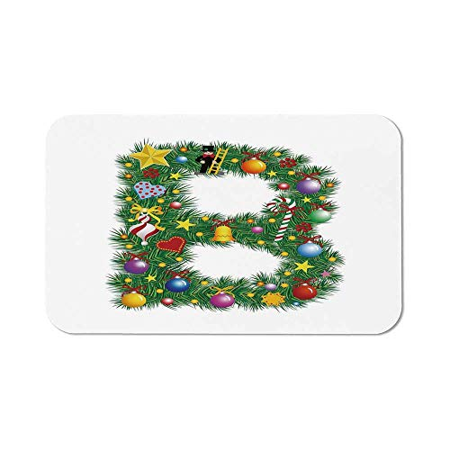 Letter B Precise Mouse Pad,Tasty Candy Cane and Figure with Top Hat Suit Christmas Tree Design with B Print for Home & Office,11.81