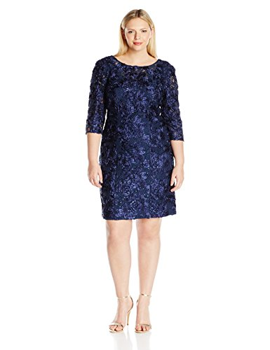 Alex Evenings Women's Plus Size Rosette Shift Dress with 3/4 Sleeves, Navy, 22W