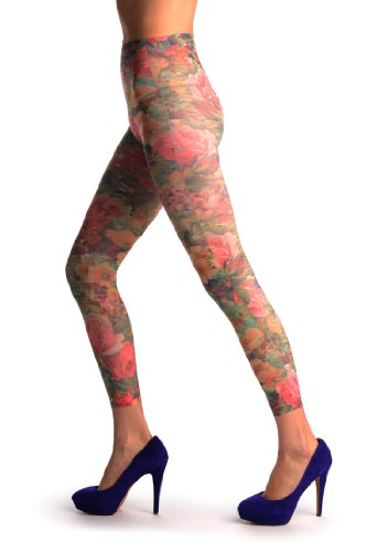 Orange & Purple Flowers Vintage Footless - Multicolore Collant Sans Pied (Leggings) Taille Unique (34-44)