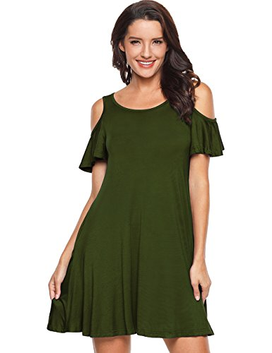 army Tie EasyMy Dye Casual Womens Cold Shoulder Solid Tunic T Shirt Green Plain Dress Ombre OIqrIw5XTx