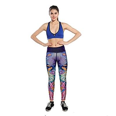 Yomsong Womens Cute 3D Digital Printed Leggings Yoga Pants