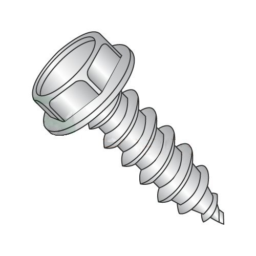 """#6 x 1/2"""" Type AB Self-Tapping Screws/Unslotted/Hex Washer Head / 18-8 Stainless Steel (Carton: 5,000 pcs) 41qAMR4Ns2L"""