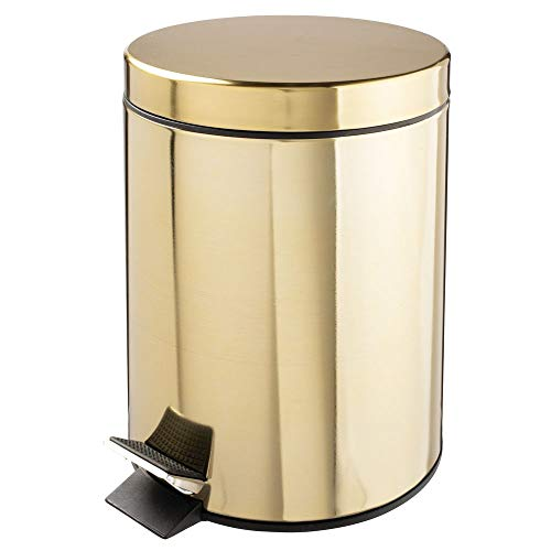 d Small Metal Step Trash Can Wastebasket, Garbage Container Bin - for Bathroom, Powder Room, Bedroom, Kitchen, Craft Room, Office - Removable Liner Bucket - Soft Brass ()