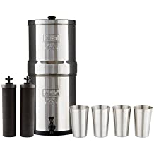 Berkey Imperial Water Filter System (4.5 Gallons) includes 2 Black Purifier Filters Bundled with 1-set of 4 Stainless Steel Cups