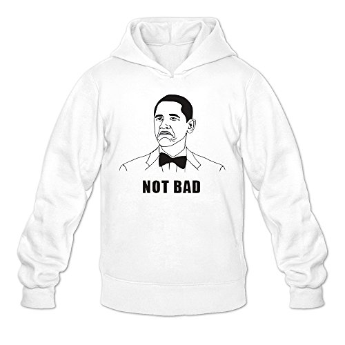Ccyc Men's Not Bad Barack Obama President White Sweatshirt Medium (Barack White Obama T-shirt)