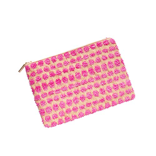 Handbag Bag Wallet Casual C05 Bag with Evening Beach Summer Pocket Envelope Purses Fuchsia Pompoms Women Straw Natural Clutch Accents qwnpx688E