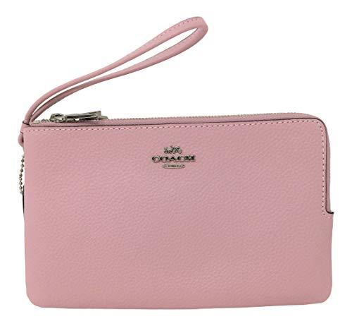 Coach BM02 Pebble Leather Double Zip Large Wristlet Wallet Carnation Pink F87587
