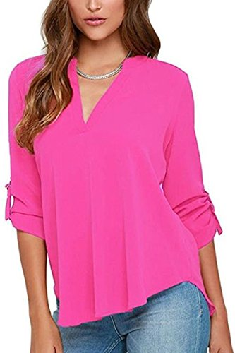 (YMING Roll Up Sleeve Shirt for Women Casual Loose Shirt V Neck Chiffon Blouse Rose L)