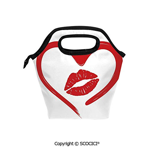 - Picnic Food Insulated Cooler Tote Lunch Bag Heart Drawn in Lipstick and Woman Lip Imprint Romance Passion and Tenderness Message Decorative Organizer Lunchbox for Women Men Kids.