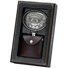 Jack Daniel's 4-Ounce Leather-Covered Flask/Oval Buckle Gift Set