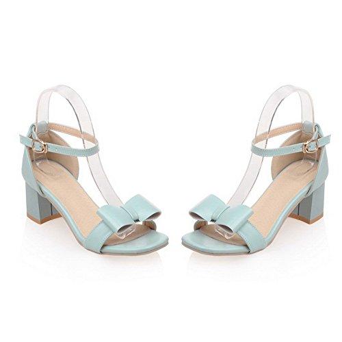 Amoonyfashion Mujer's Open Toe Kitten-heels Soft Material Solid Hebilla Sandalias Con Arcos Azul