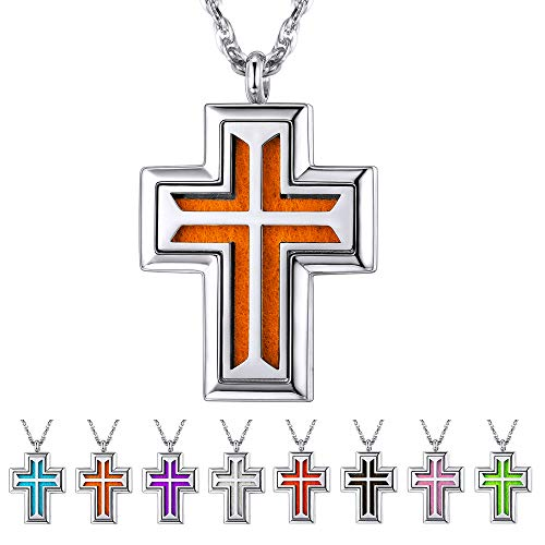 Supcare Locket Cross Pendant Necklace Stainless Steel for Aromatherapy Essential Oil Diffuser, Aromatherapy Christian Pendant Religious Jewelry, Birthday Gift for Him ()