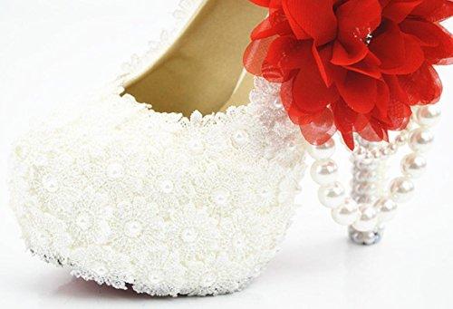 YCMDM scarpe da sposa Large Size Ultra High con il vestito da sposa rotonda scarpe da damigella d'onore del locale notturno Lace Bianco Fiore Rosso , 5 cm with high reservation , 39