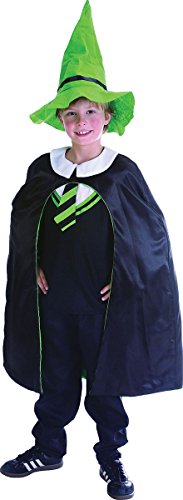 Large Boys Wizard Hooded Cloak Cape Robe Merlin Magician Fancy Dress Costume (Fancy Dress Magician)