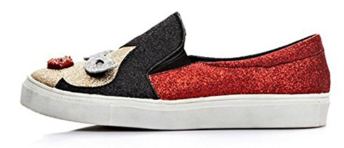 Aisun Sole Red Sneakers Round Fashion Thick On Loafers Skateboard Cartoon Toe Flats Sequined Platform Stylish Slip Womens Shoes SF0Sr