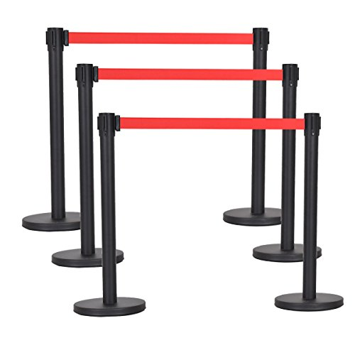 Goplus 6Pcs Stanchion Set W/ Retractable Belt Posts Queue Pole Crowd Control Barrier (Red) (Control Crowd)